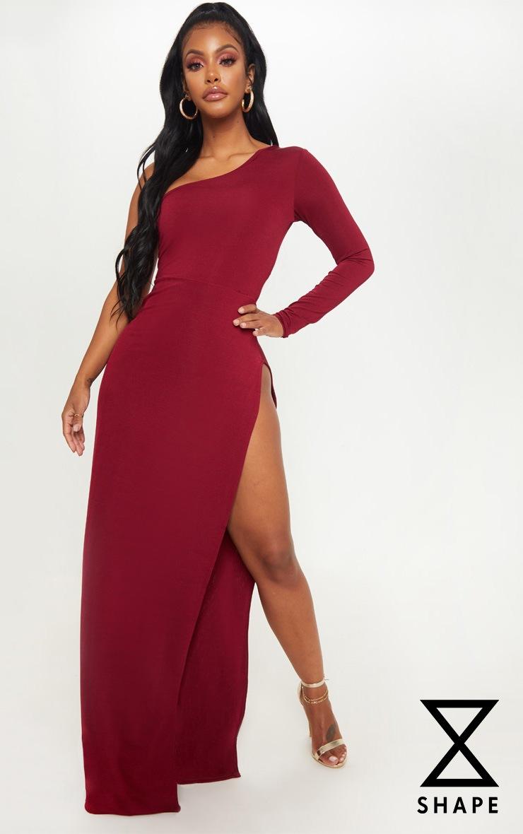 Shape Burgundy Slinky Split Maxi Dress Prettylittlething Usa