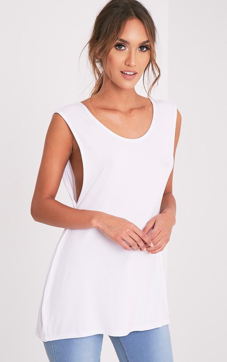 Basic White Jersey V Back Longline Vest 8