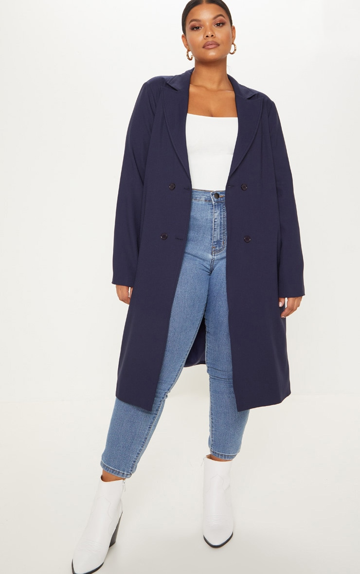Plus Navy Woven Oversized Trench Coat 1