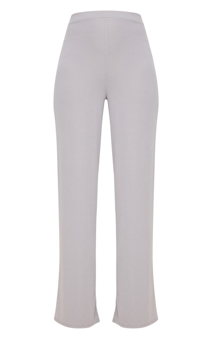 Grey Wide Leg Rib Trousers 3