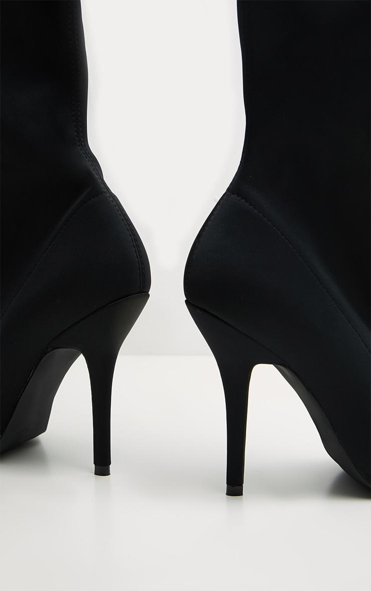 Black Over The Knee Neoprene Sock Boot 3