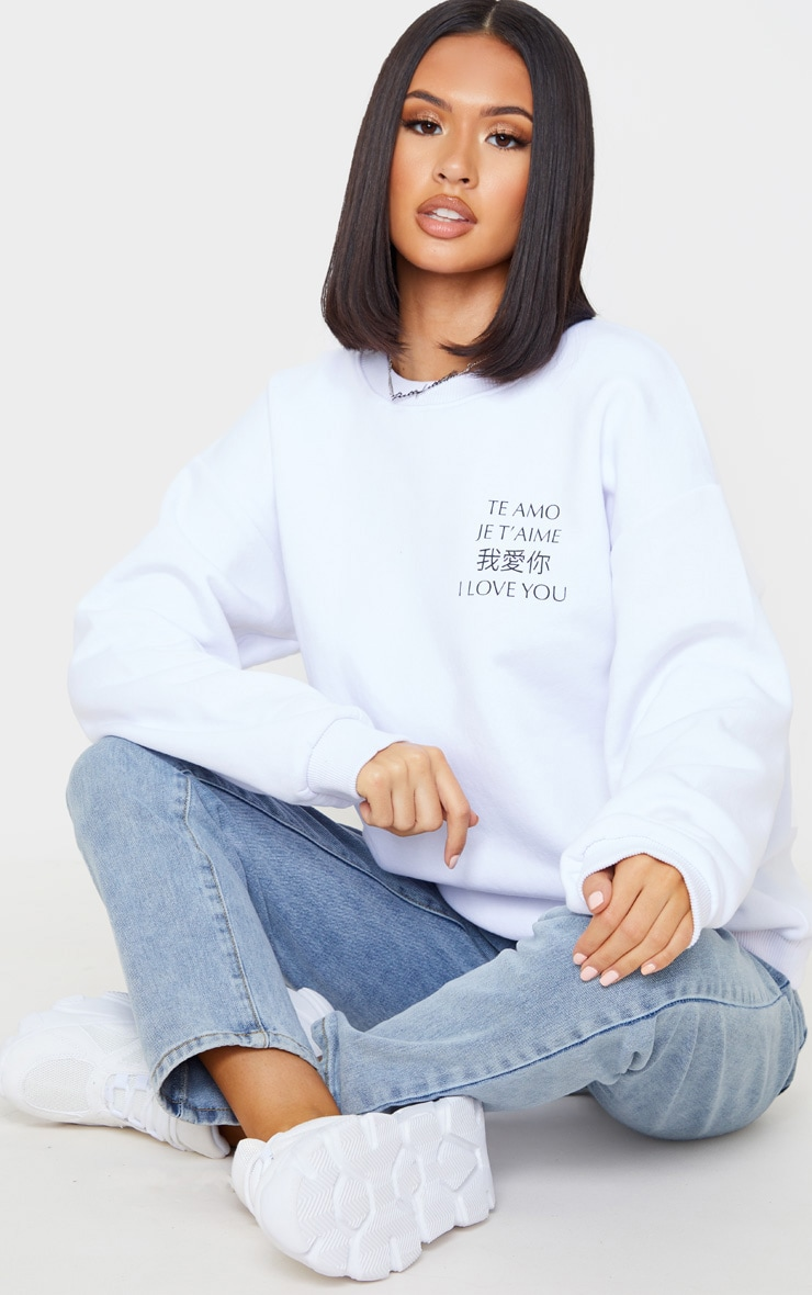 White I Love You Slogan Oversized Sweater 1