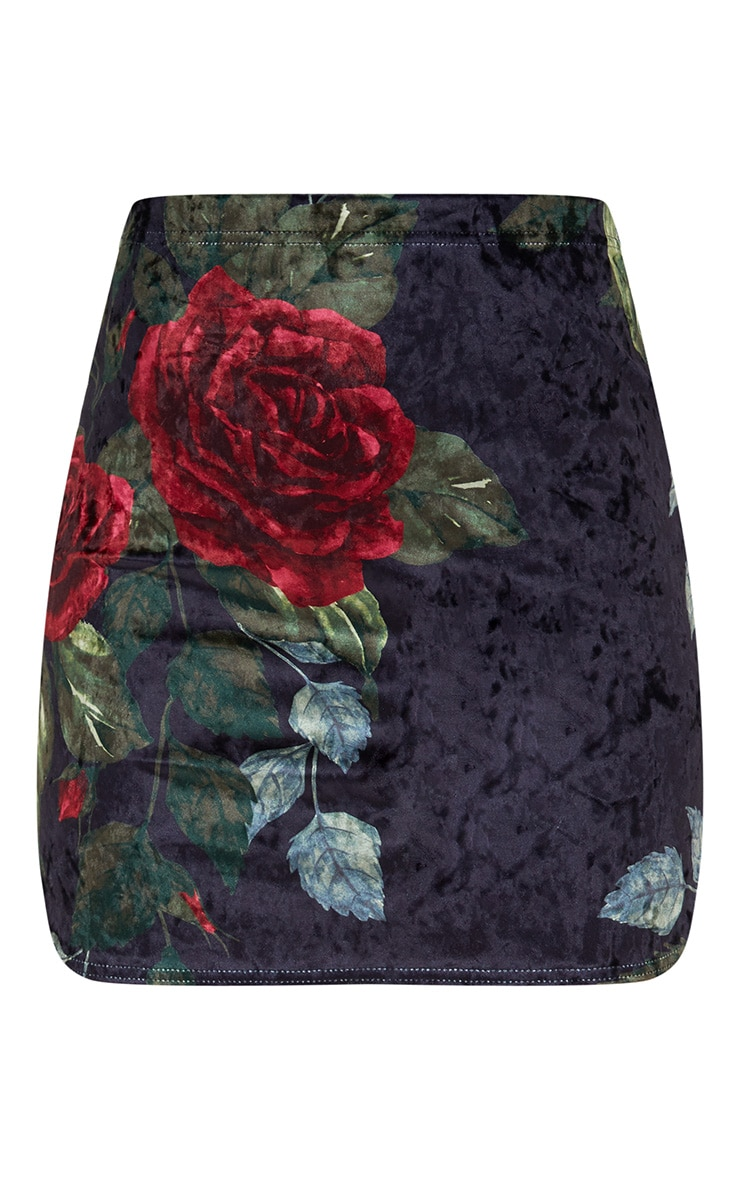 Black Floral Print Velvet Mini Skirt 3