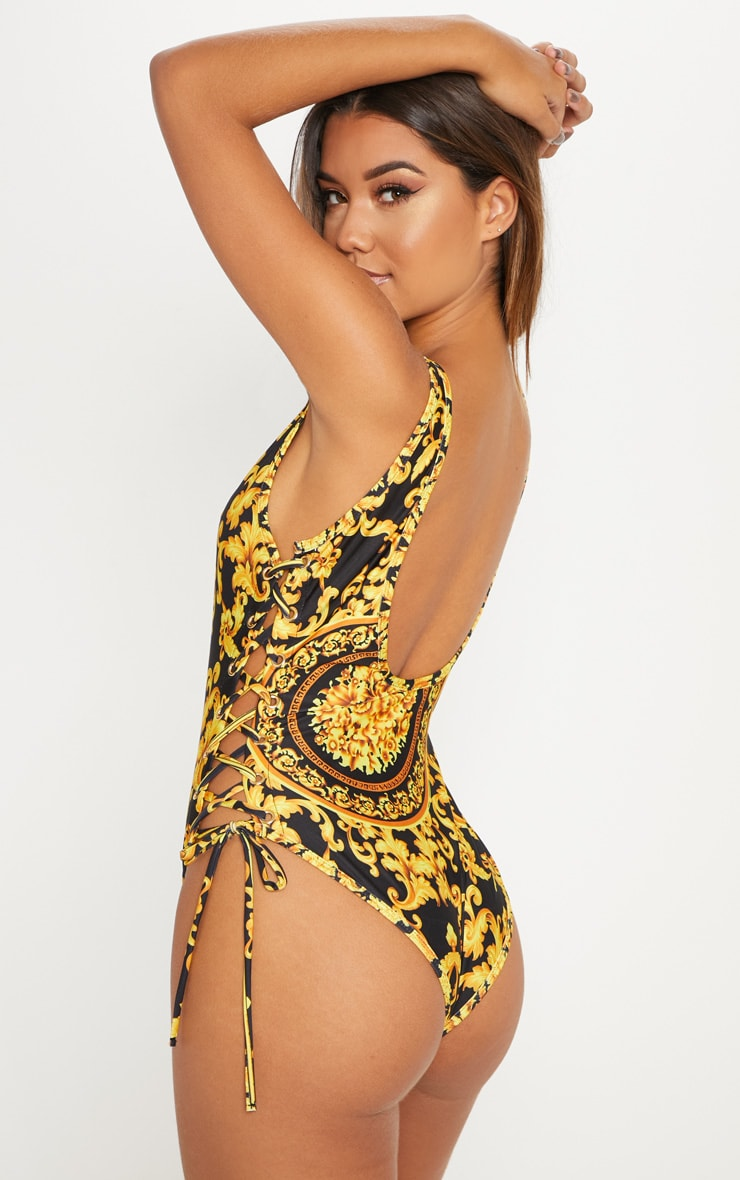 Black Chain Print Tie Side Plunge Swimsuit 2