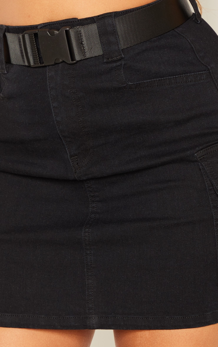 Black Cargo Pocket Belted Denim Skirt 6