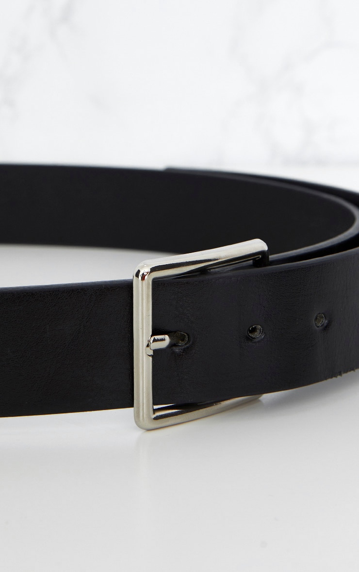 Black Basic Square Buckle Belt 7