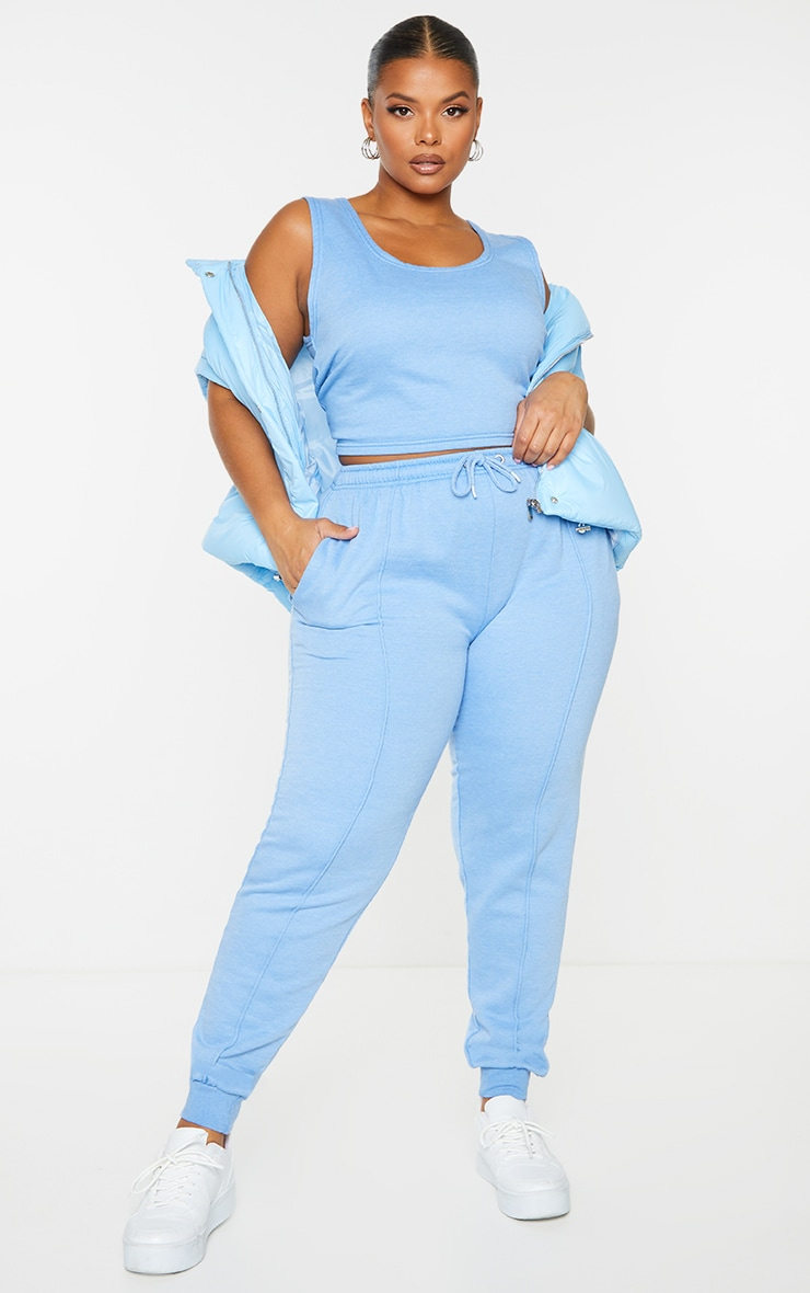 Plus Bright Blue Washed Piping Joggers 1
