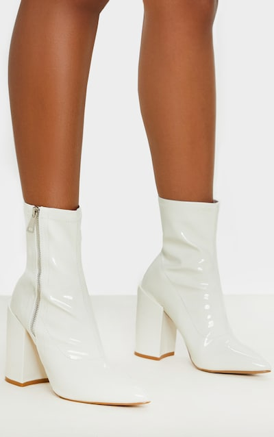 White Chunky Heel Side Zip Sock Boot