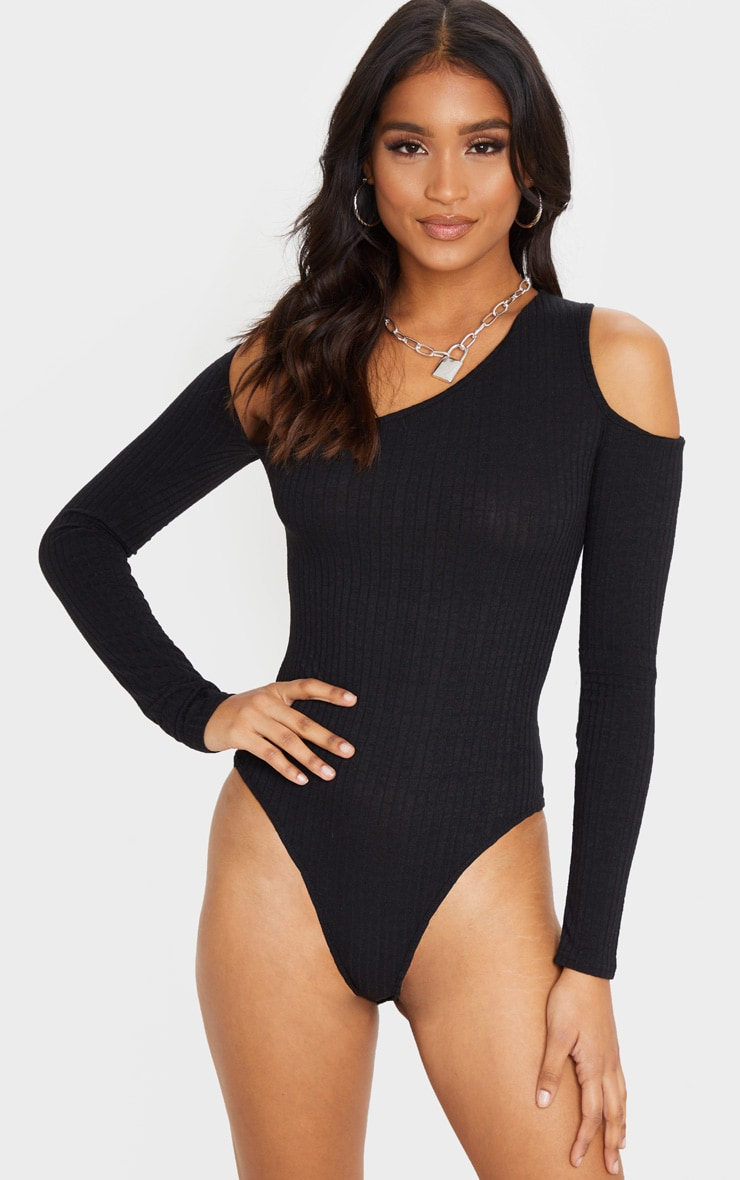 Black Rib Cut Out Long Sleeve Bodysuit 2