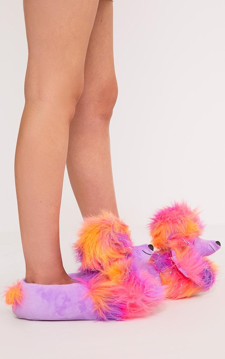 Purple Sparkle Poodle Slippers 3