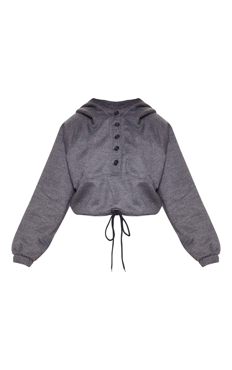 Charcoal Grey Button Front Oversized Hoodie 3