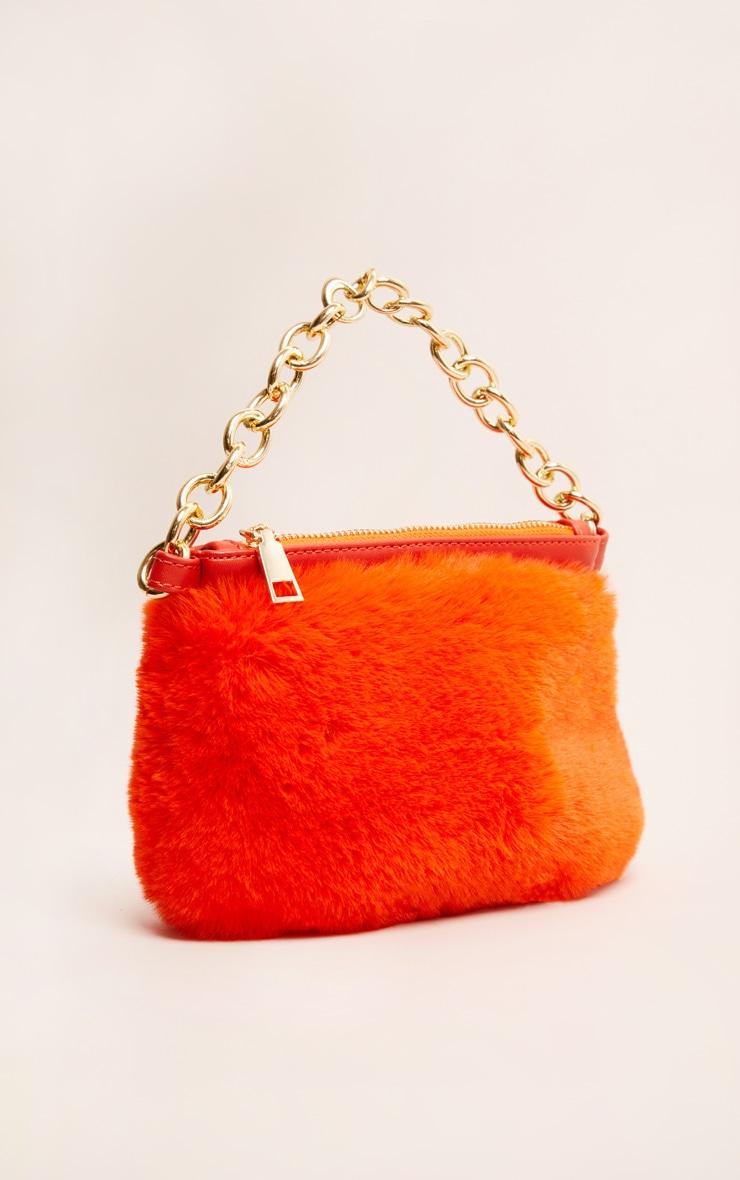 Orange Faux Fur Handbag 3