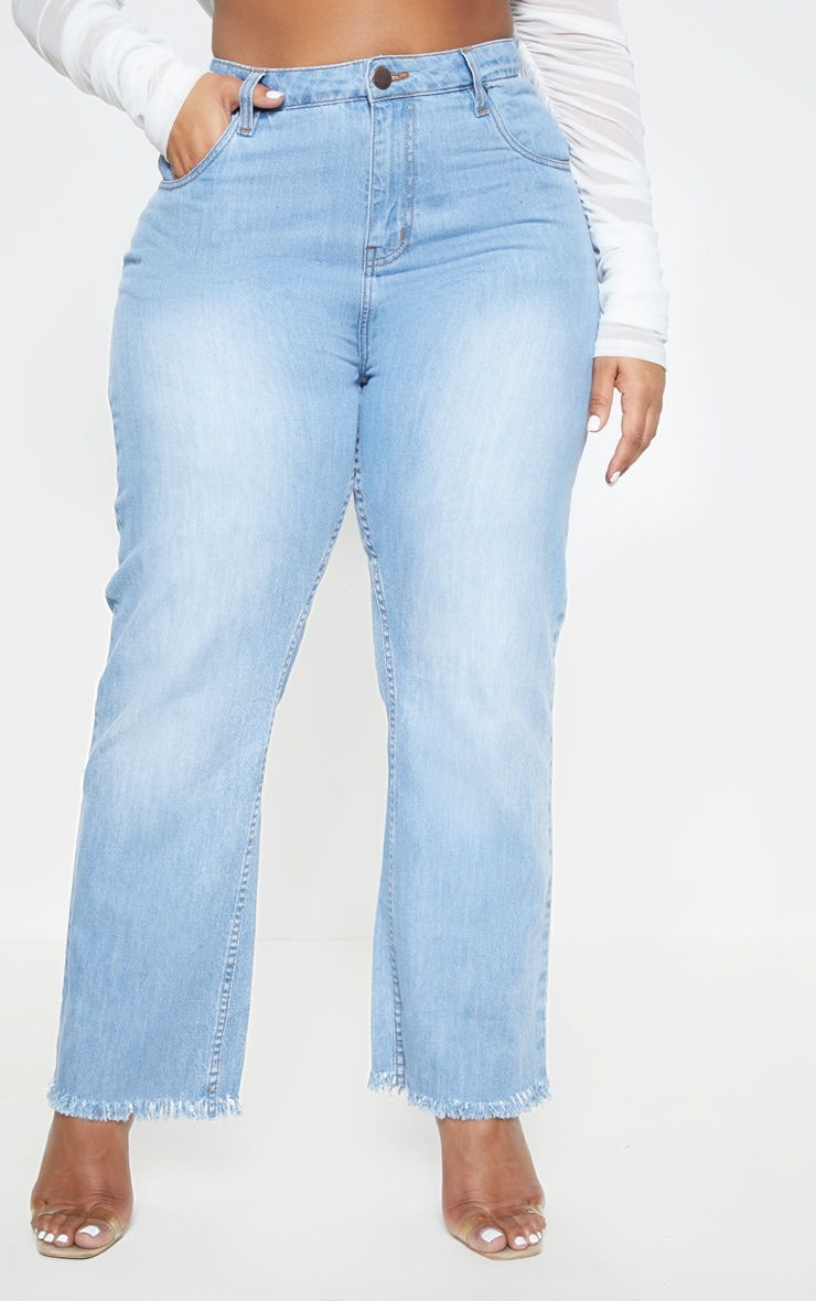 Plus Light Wash Straight Leg Frayed Hem Jean  2