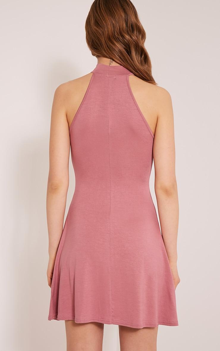 Basic Rose High Neck Jersey Skater Dress 2