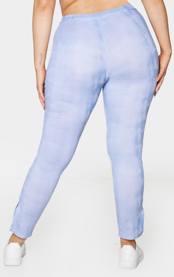 Plus Dusty Blue Tie Dye Rib Split Hem Leggings 3