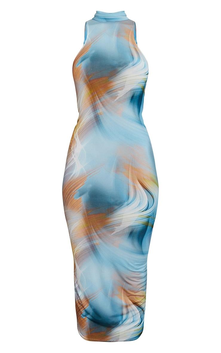 Blue Abstract Print High Neck Open Back Sleeveless Midaxi Dress 5