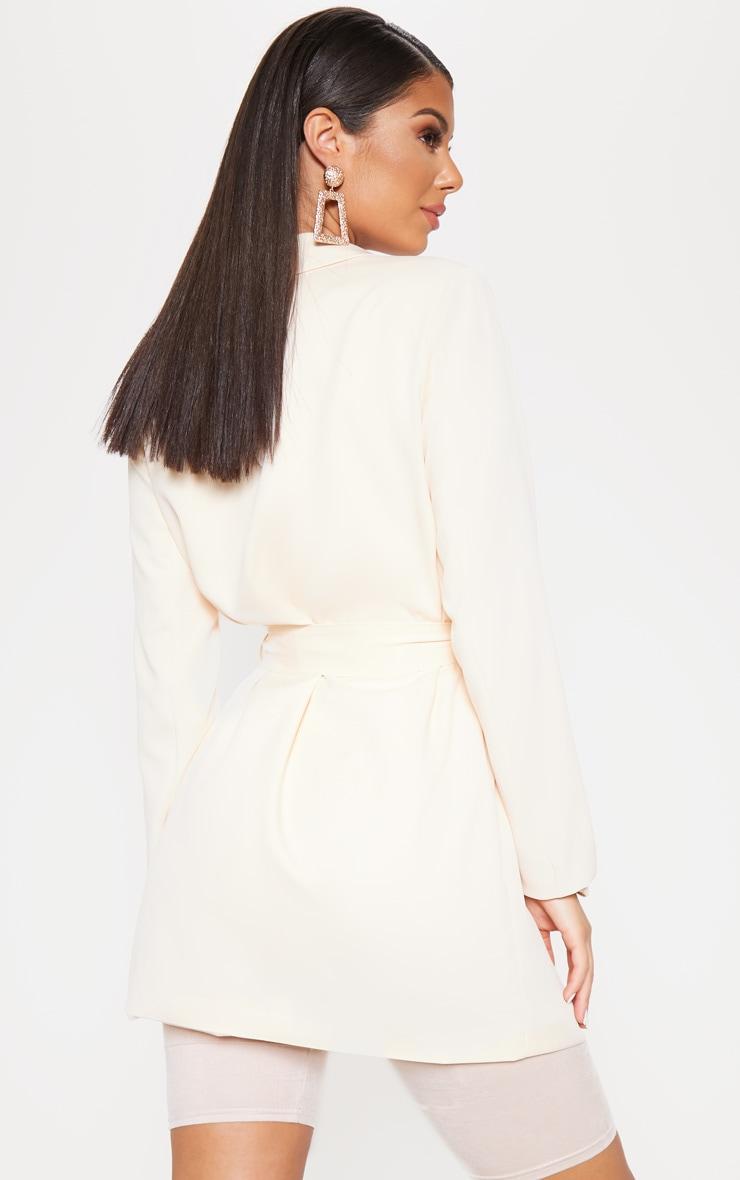 Belted Cream Woven Blazer 2