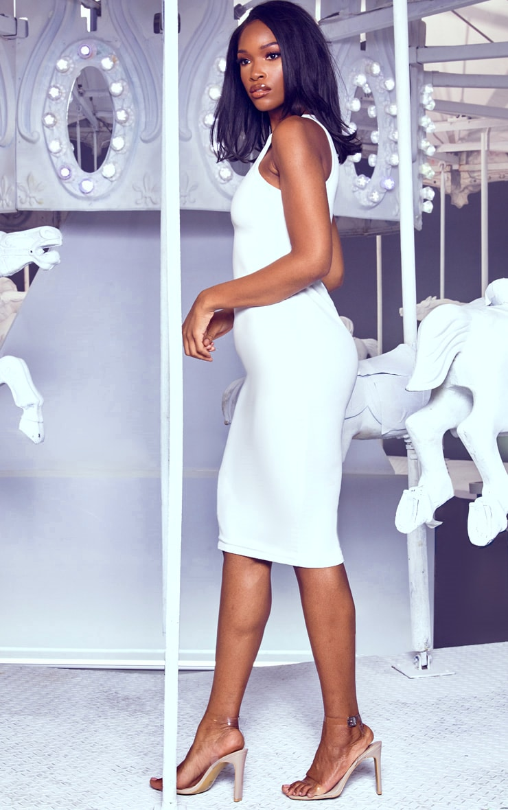 White Crew Neck Midi Dress 4