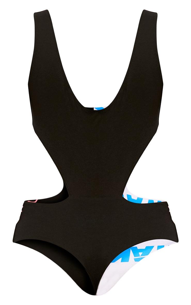 Black Cut Out Spliced Print Thong Bodysuit 5