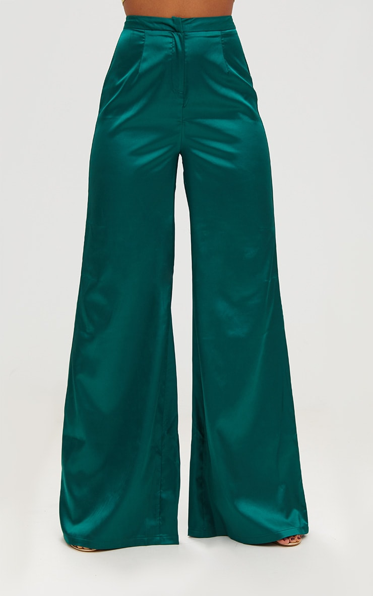 Forest Green Satin Wide Leg Trousers 2