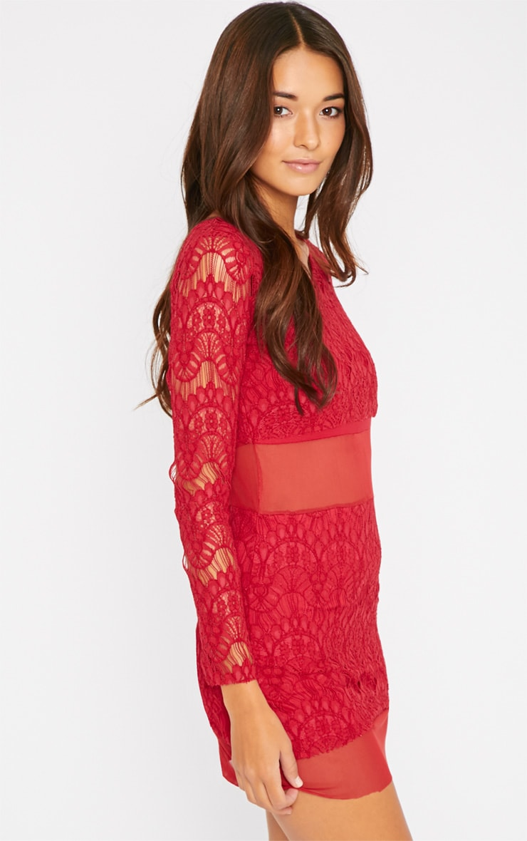 Bailey Red Premium Lace Mini Dress 4