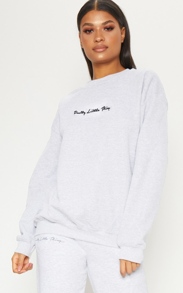 PRETTYLITTLETHING Ash Grey Embroidered Sweater  4