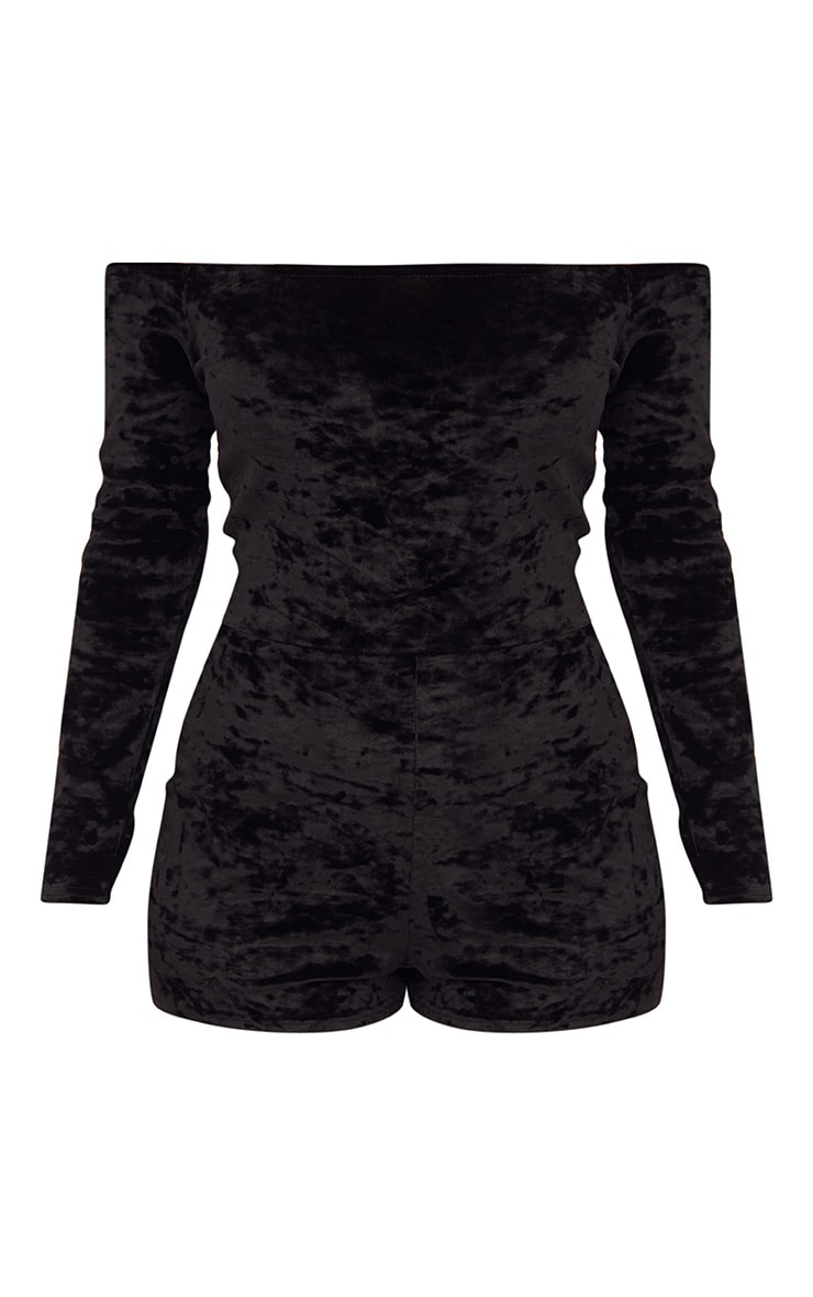 Black Velvet Long Sleeve Bardot Playsuit  3