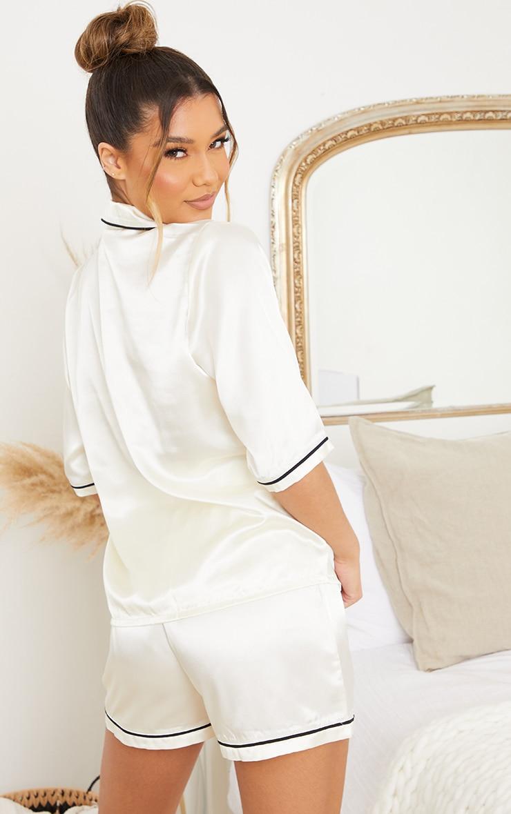 Ivory Disney Bambi Embroidered Button Up Satin Shorts PJ Set 2