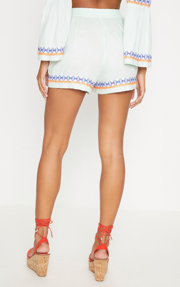 Mint Embroidered Floaty Shorts 4