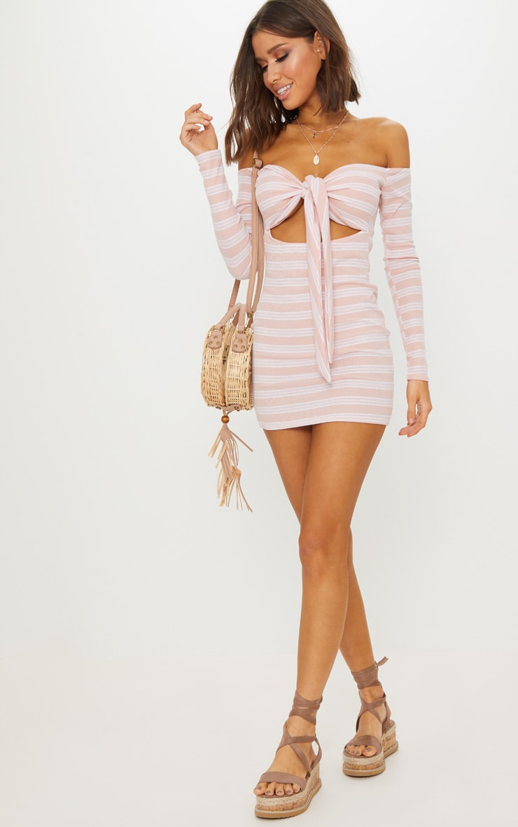 Pink Stripe Print Ribbed Bardot Tie Front Bodycon Dress 3