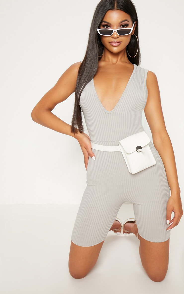 Grey Ribbed Plunge Sleeveless Unitard 1