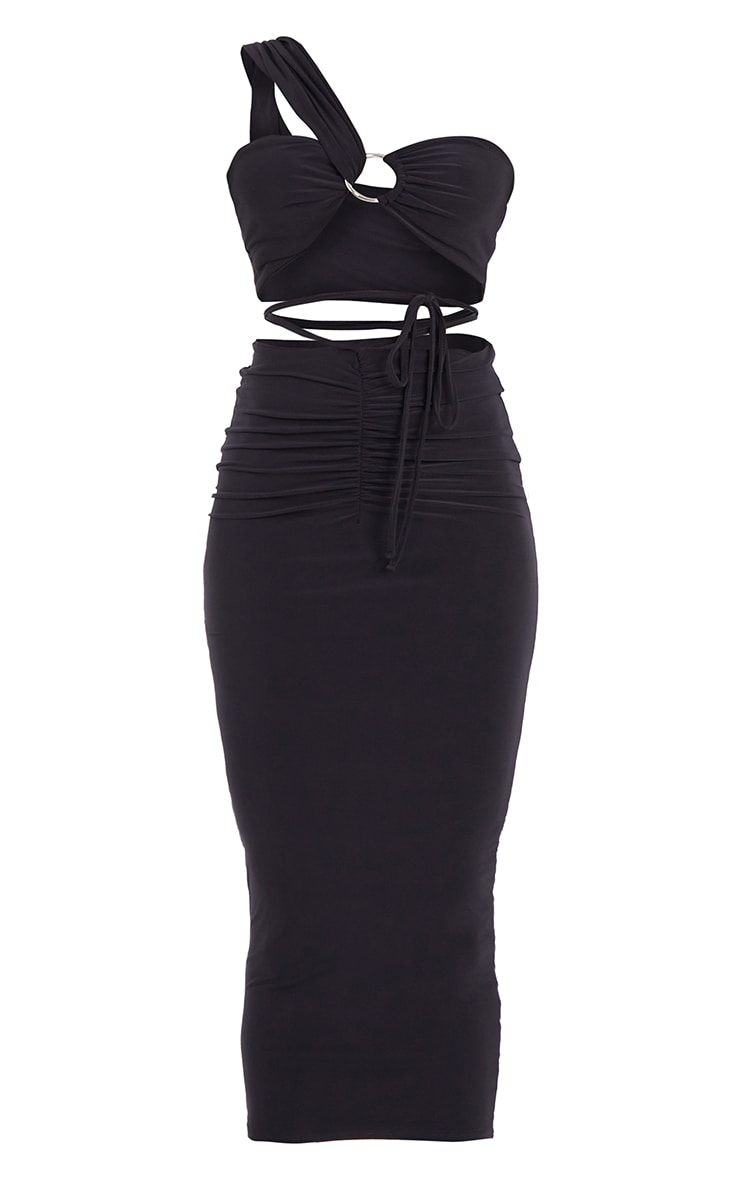Black Slinky One Shoulder Ring Detail Cut Out Midaxi Dress 5