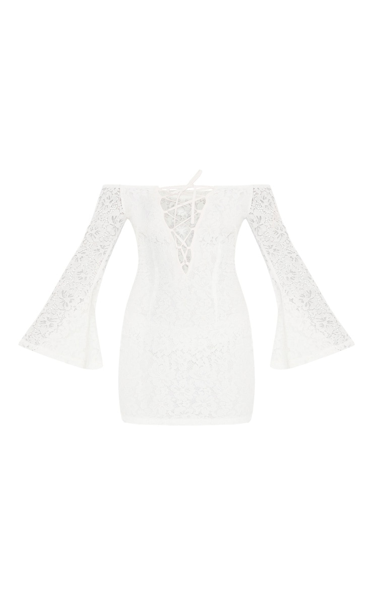 White Lace Bardot Flare Sleeve Bodycon Dress 4