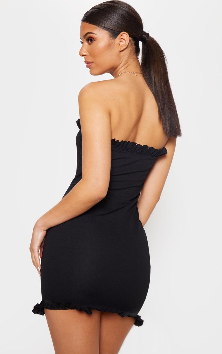 Black Bandeau Frill Bodycon Dress 2