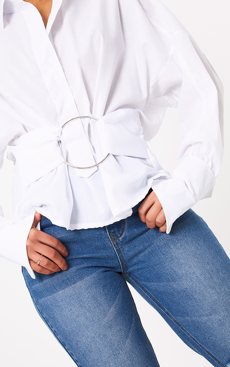 White O Clasp Belt Oversized Shirt 5