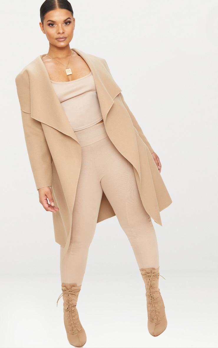 PLT Plus - Manteau camel effet cascade 1