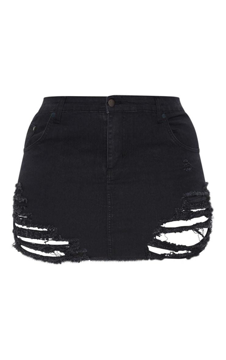 Plus Black Super Shred Denim Mini Skirt 3