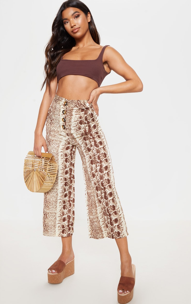 Brown Button Front Snake Print Culotte 1