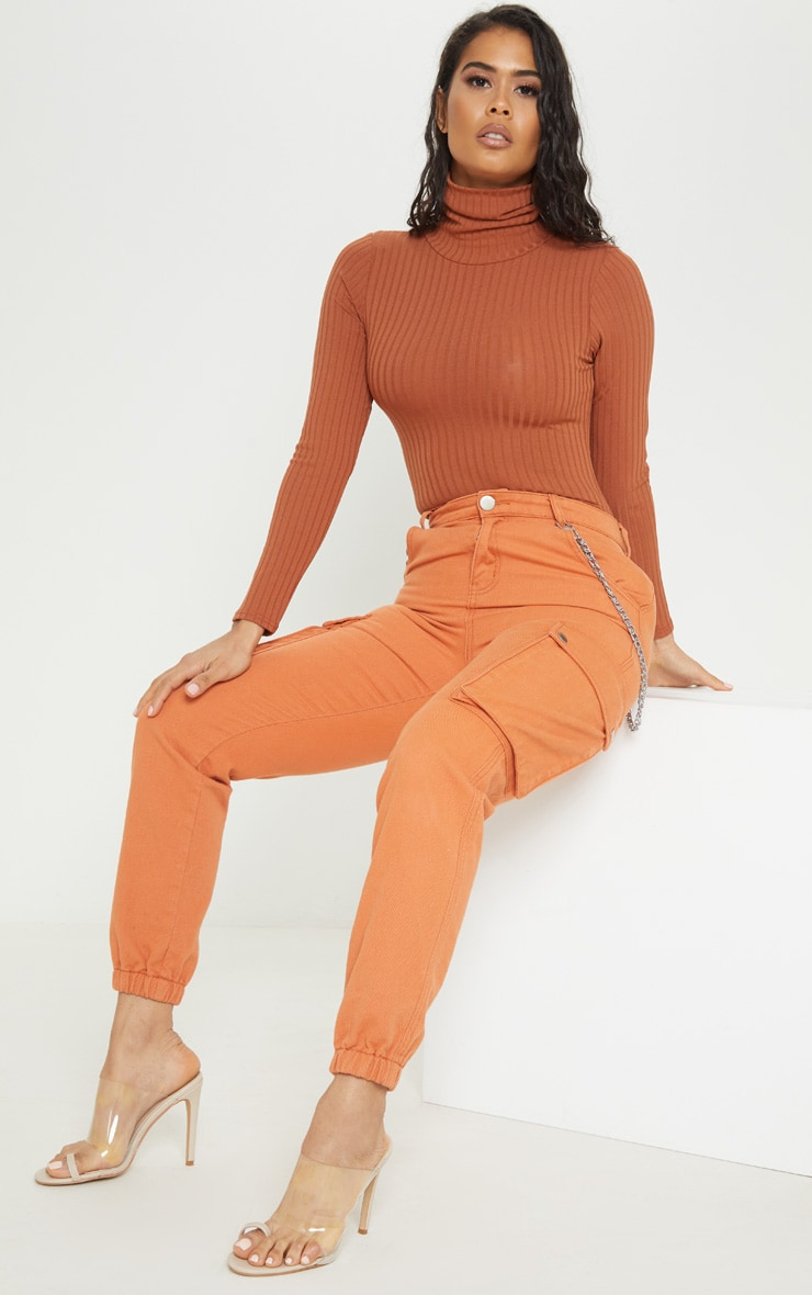 Burnt Orange Rib Roll Neck Long Sleeve Bodysuit 5