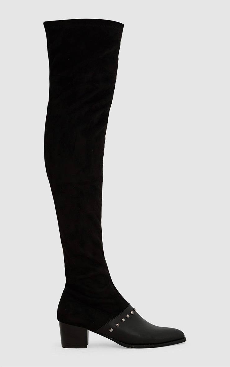 bottes cuissardes cuir synth tique noires clout es chaussures. Black Bedroom Furniture Sets. Home Design Ideas