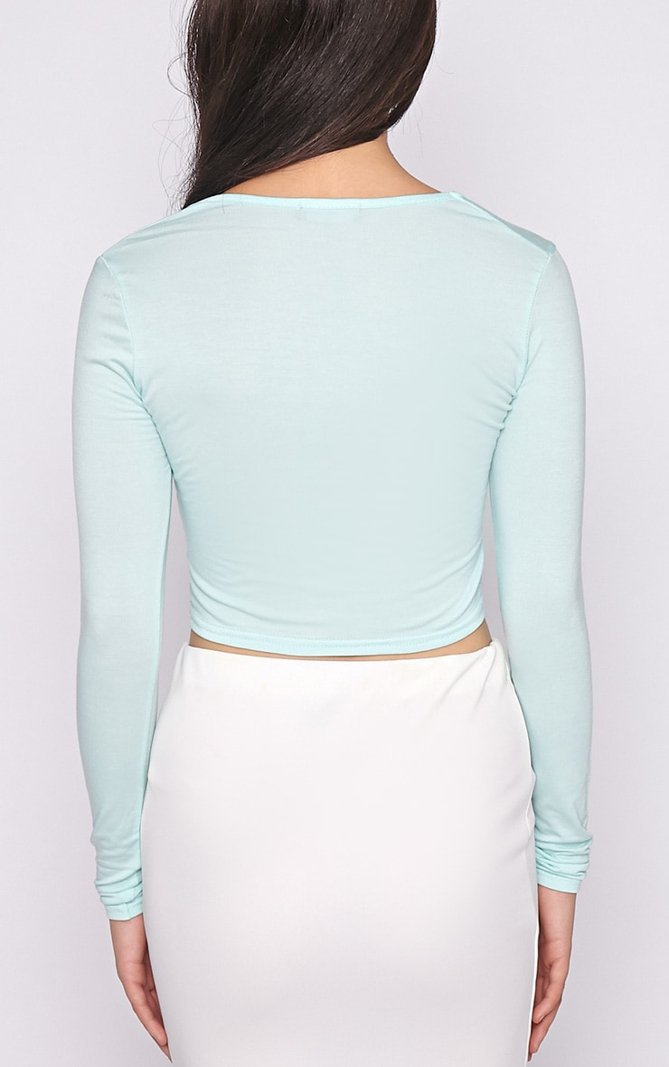 Suzy Mint Long Sleeved Crop Top 2