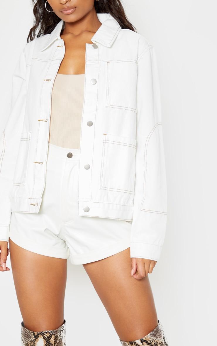 White 3 Pocket Fitted Contrast Stitch Denim Jacket 5