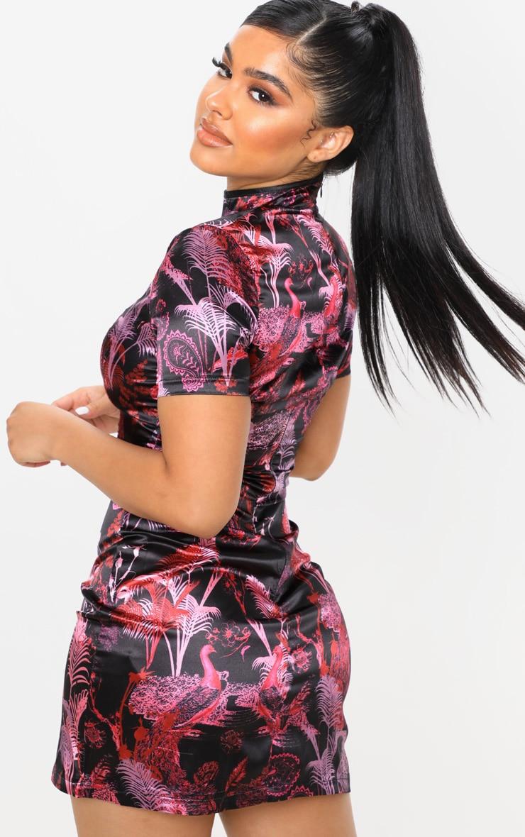 Petite Black Satin Split Mini Dress 2