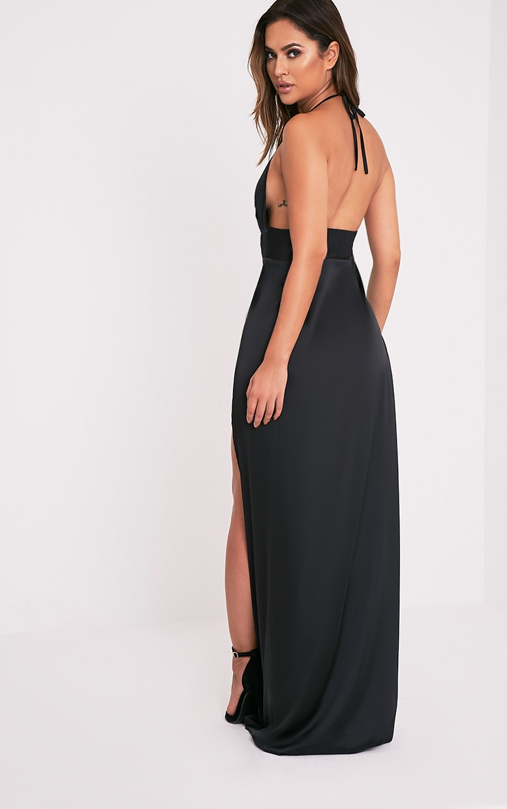 Lucie Black Silky Plunge Extreme Split Maxi Dress 6