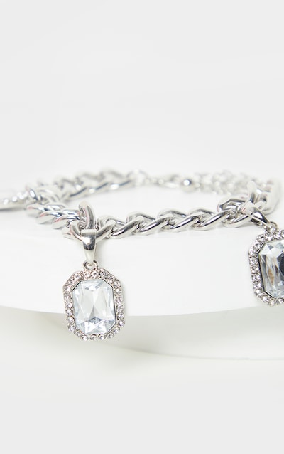 Silver Crystal Drop Chain Bracelet