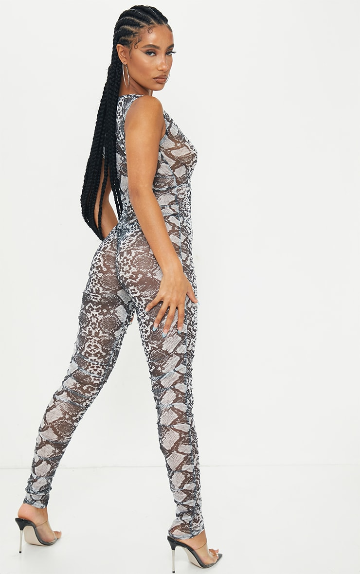 Grey Snake Print Mesh Ruched Plunge Jumpsuit 2