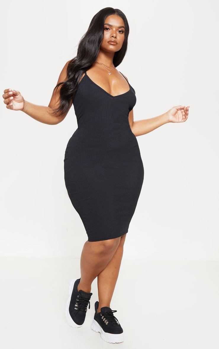 Plus Black Ribbed Plunge Midi Dress  1