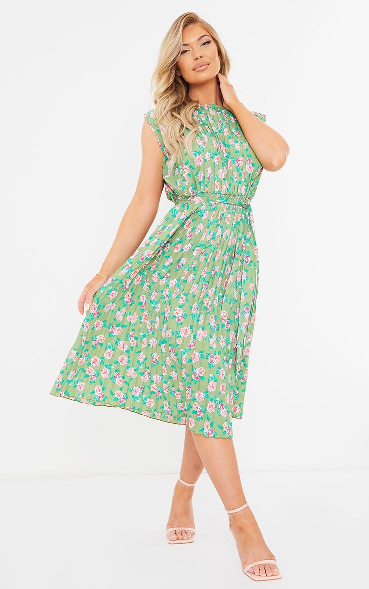Green Floral Print Pleated Sleeveless Midi Dress 3