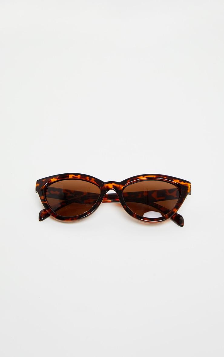 Lunettes de soleil oversized marron écaille de tortue style oeil de chat 4