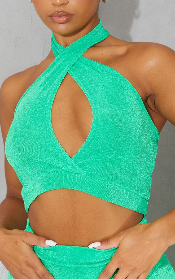 Bright Green Slinky Acetate Halterneck Bralet 4